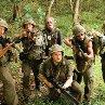 Still of Robert Downey Jr., Ben Stiller, Jay Baruchel, Jack Black and Brandon T. Jackson in Tropic Thunder